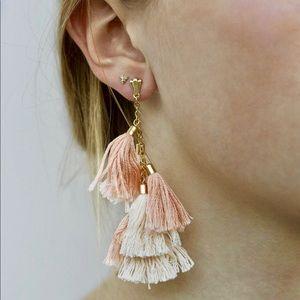 NEW Peach Tassel 18kt GOLD Earrings